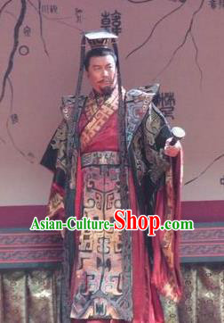Chinese Ancient Qin Dynasty Emperor Replica Costume First King of China Clothing for Men