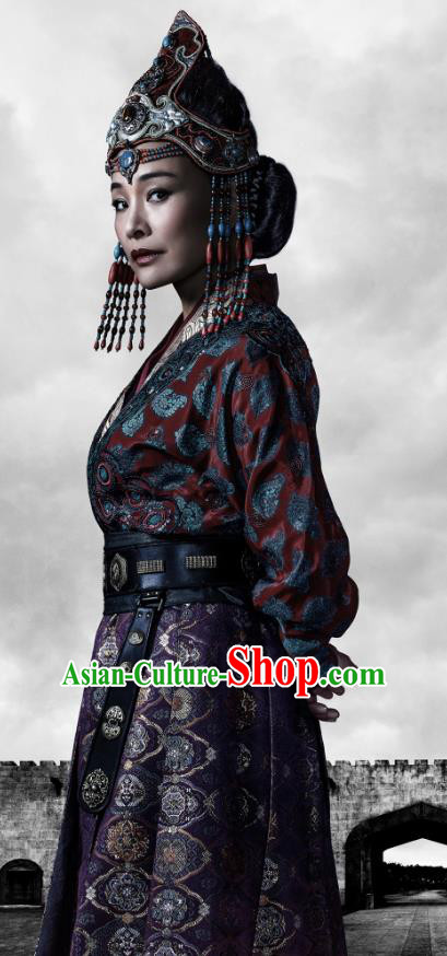 Traditional Chinese Ancient Yuan Dynasty Empress of Kublai Khan Replica Costume for Women