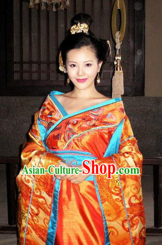 Traditional Chinese Han Dynasty Concubine Qi Hanfu Dress Ancient Imperial Consort Replica Costume for Women