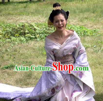 Traditional Chinese Han Dynasty Concubine Qi of Liu Bang Hanfu Ancient Imperial Consort Replica Costume for Women
