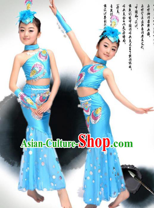 Traditional Chinese Ethnic Nationality Pavane Costume, Chinese Peacock Dance Blue Clothing for Kids