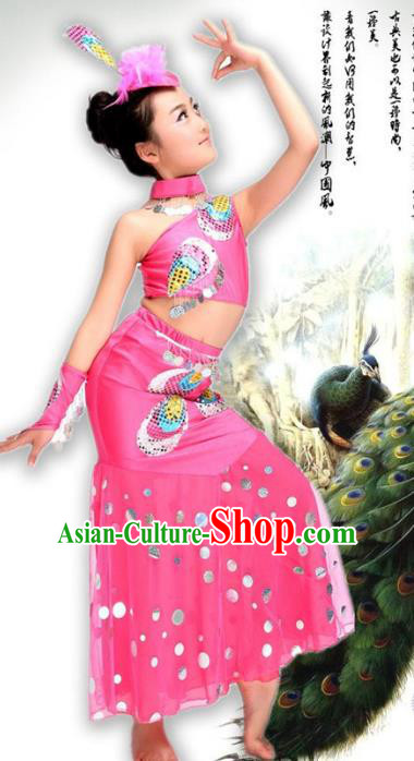Traditional Chinese Ethnic Nationality Pavane Costume, Chinese Peacock Dance Pink Clothing for Kids