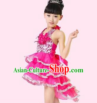 Top Grade Stage Performance Latin Dance Costume, Professional Modern Dance Rosy Swallow-tailed Dress for Kids