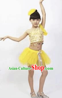 Top Grade Stage Performance Latin Dance Costume, Professional Modern Dance Yellow Bubble Dress for Kids