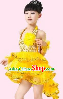 Top Grade Stage Performance Latin Dance Costume, Professional Modern Dance Yellow Swallow-tailed Dress for Kids