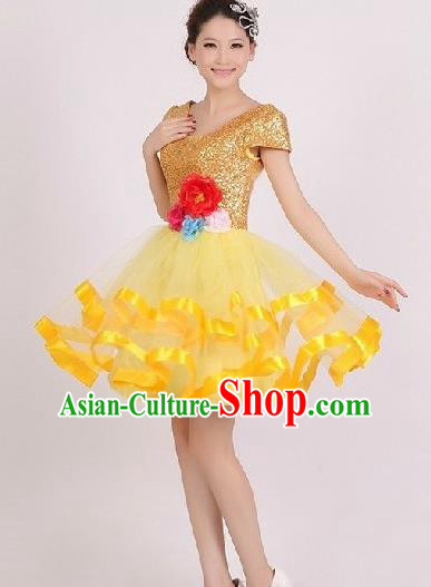 Top Grade Stage Performance Dance Chorus Costume, Professional Modern Dance Yellow Bubble Dress for Women
