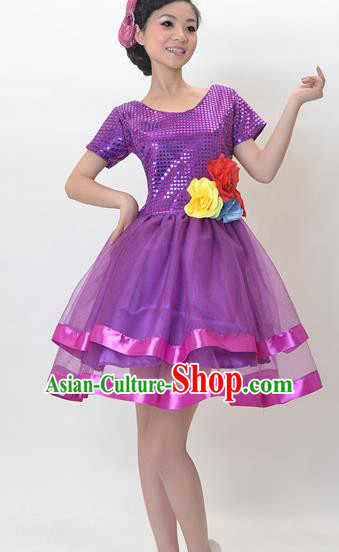 Top Grade Stage Performance Dance Chorus Costume, Professional Modern Dance Purple Bubble Dress for Women