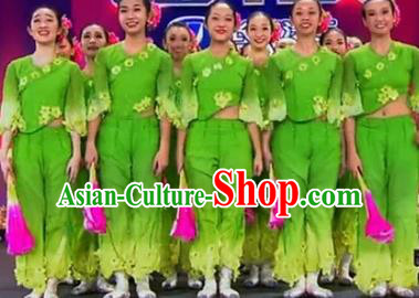 Chinese Traditional Folk Dance Costume Yangge Dance Green Uniform Classical Dance Yangko Clothing for Women