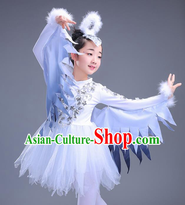 Top Grade Stage Performance Dance Costume, Professional Modern Dance Feather Wings Dance Dress for Kids
