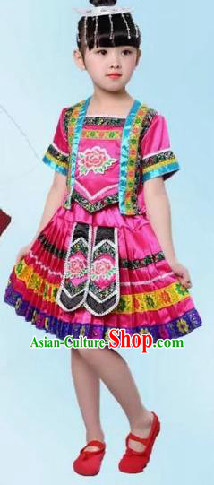 Traditional Chinese Ethnic Costume Pink Dress Chinese Miao Minority Nationality Dance Clothing for Kids
