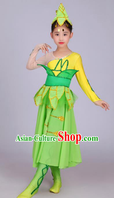 Chinese Traditional Yangge Dance Green Uniform Classical Dance Folk Dance Yangko Clothing for Kids