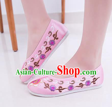 Chinese Traditional Handmade Embroidery Shoes Pink Embroidered Shoes for Women