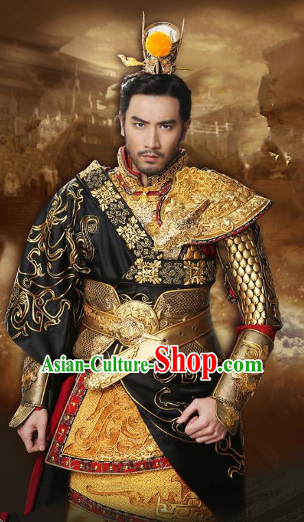 Chinese Ancient Three Kingdoms Period General Lv Bu Replica Costume Helmet and Armour for Men