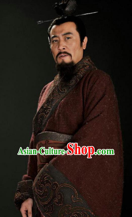 Chinese Ancient Three Kingdoms Period Shu Kingdom Liu Bei Replica Costume for Men