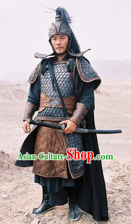 Chinese Ancient Qin Dynasty General Cui Replica Costume Helmet and Armour for Men