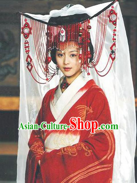 Chinese Ancient Qin Dynasty Palace Lady Wedding Hanfu Dress Replica Costume for Women
