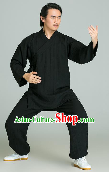 Top Grade Kung Fu Costume Martial Arts Training Gongfu Wushu Tang Suit Black Clothing for Men