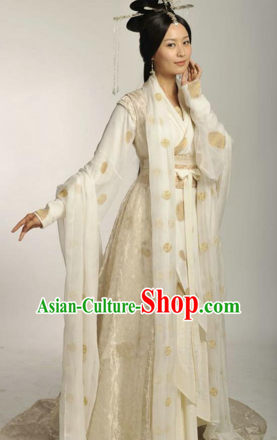 Ancient Chinese Han Dynasty Beauty Hanfu Dress Concubine Li Embroidered Replica Costume for Women