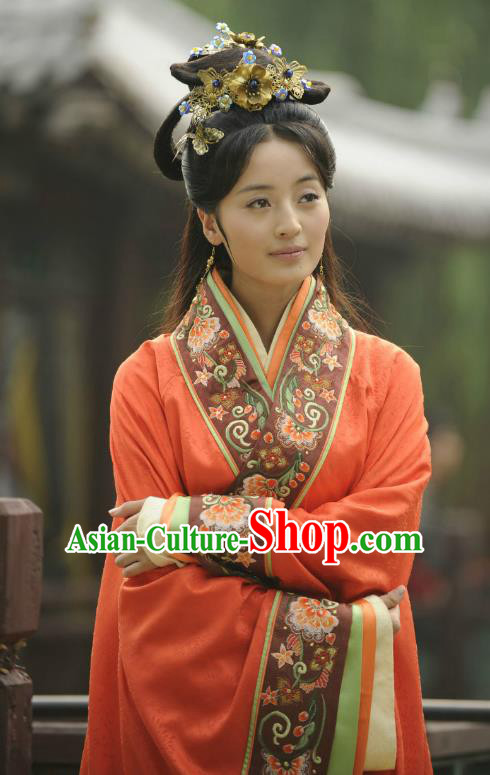 Traditional Chinese Ancient Warring States Period Palace Lady Hanfu Red Dress Embroidered Replica Costume for Women