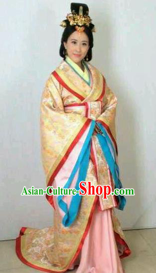 Traditional Chinese Ancient Qin Kingdom Imperial Consort Jing Embroidered Replica Costume for Women