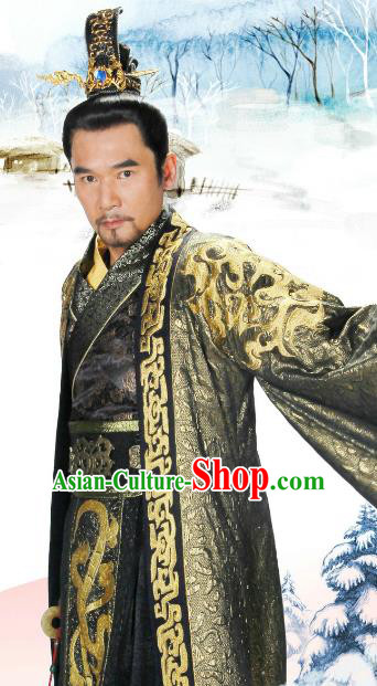 Traditional Chinese Warring States Period Chu State King Mi Shang Replica Costume for Men