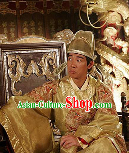 Ancient Chinese Tang Dynasty Emperor Embroidered Dragon Robe Replica Costume for Men
