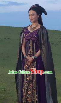 Chinese Ancient Han Dynasty Huns Princess Replica Costume for Women