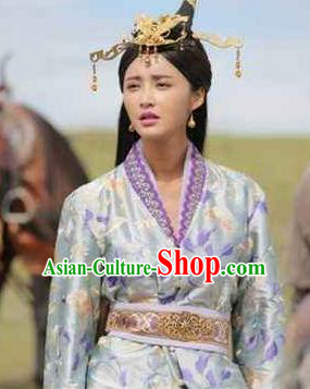 Chinese Ancient Han Dynasty Palace Princess Jie You Replica Costume for Women