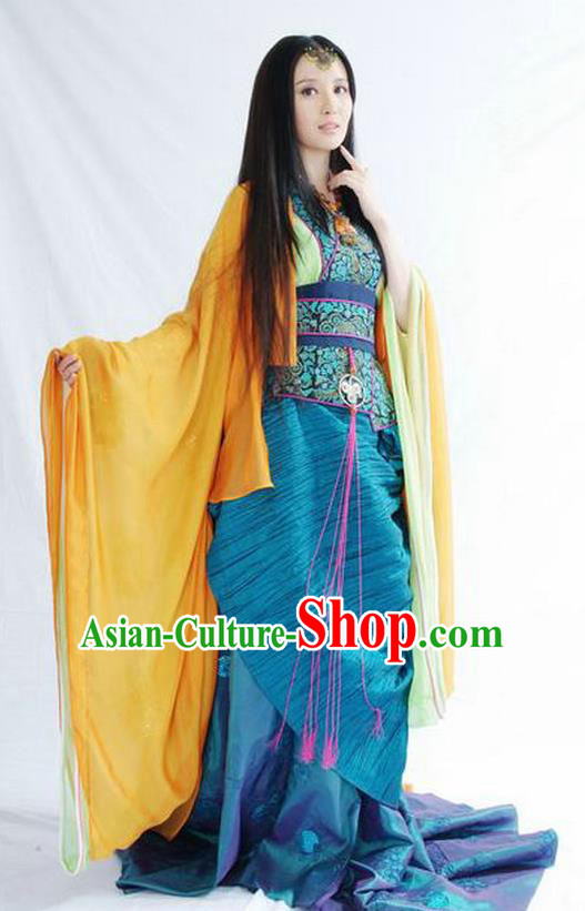 Chinese Ancient Chu Dynasty Imperial Concubine Yuji Replica Costume Hanfu Dress for Women