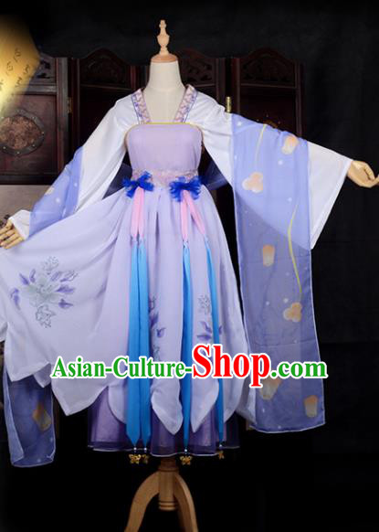 Chinese Ancient Young Lady Costume Cosplay Fairy Swordswoman Dress Hanfu Clothing for Women