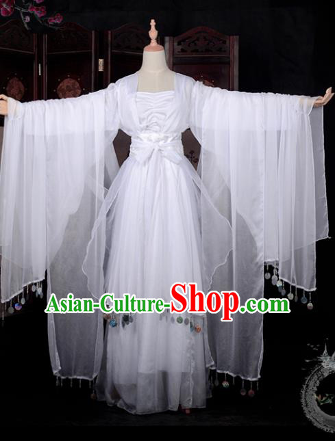 Chinese Ancient Young Lady Costume Cosplay Fairy Swordswoman White Dress Hanfu Clothing for Women