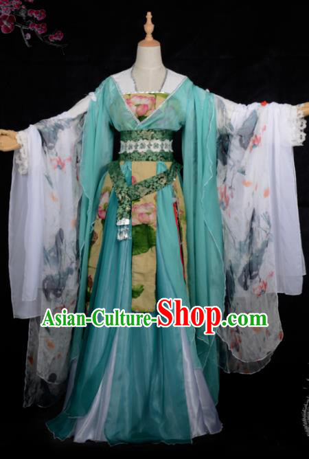 Chinese Ancient Palace Lady Ink Painting Costume Cosplay Swordswoman Dress Hanfu Clothing for Women