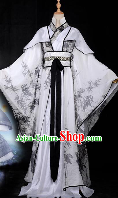 Chinese Ancient Palace Princess Costume Cosplay Tang Dynasty Swordswoman Printing Bamboo Dress Hanfu Clothing for Women