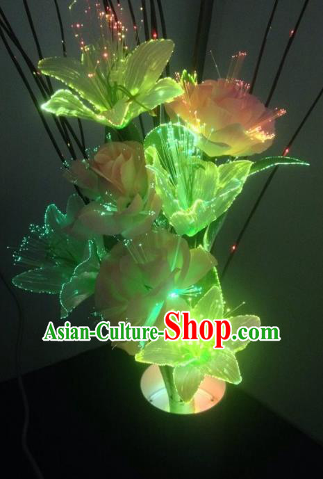Traditional Handmade Chinese Green Lily Flower Lanterns Electric LED Lights Lamps Desk Lamp Decoration
