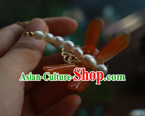 Traditional Chinese Ancient Handmade Red Agate Dragonfly Hair Stick Classical Hair Accessories Hairpins for Women