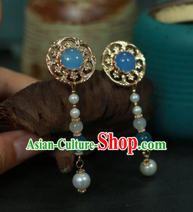 Traditional Chinese Ancient Handmade Blue Hair Stick Classical Hair Accessories Hairpins for Women