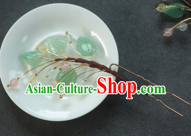 Traditional Chinese Ancient Handmade Leaf Hair Stick Classical Hair Accessories Hairpins for Women