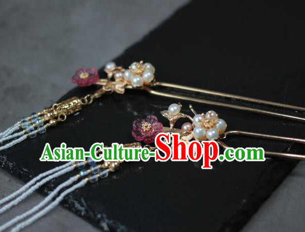 Traditional Chinese Ancient Handmade Tassel Step Shake Classical Hair Accessories Pearls Hairpins for Women