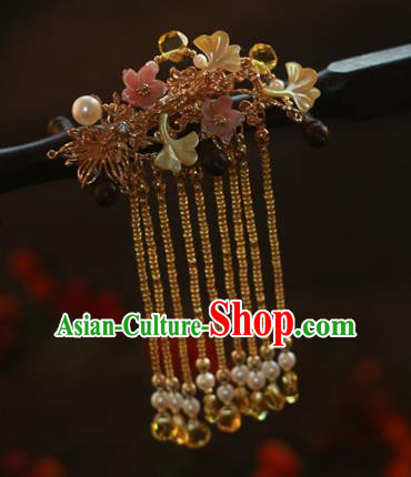 Traditional Chinese Ancient Golden Tassel Hair Claws Hair Accessories Handmade Hanfu Hairpins for Women