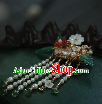 Traditional Chinese Ancient Pearls Tassel Hair Claws Hair Accessories Handmade Hanfu Golden Hairpins for Women