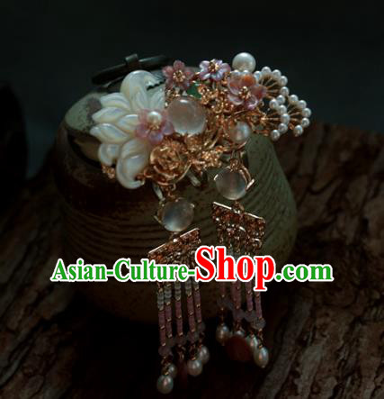 Traditional Chinese Ancient Hair Claws Hair Accessories Handmade Hanfu Shell Lotus Hairpins for Women
