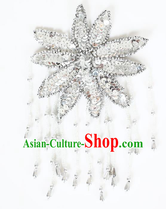 Chinese Traditional Folk Dance Hair Accessories Yangko Argentate Sequins Headwear for Women