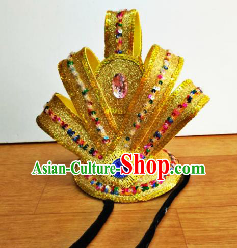 Chinese Traditional Classical Dance Golden Hairdo Crown Hair Accessories Folk Dance Yangko Headwear for Men