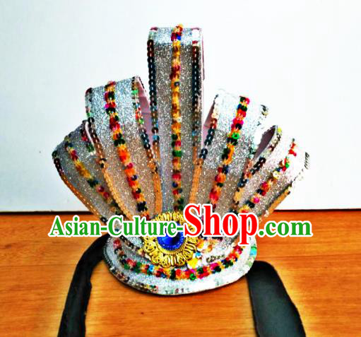 Chinese Traditional Classical Dance Argentate Hairdo Crown Hair Accessories Folk Dance Yangko Headwear for Men