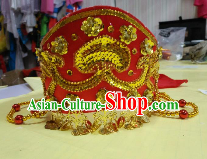 Chinese Classical Dance Mongols Nationality Hair Accessories Red Hats Traditional Folk Dance Headwear for Women