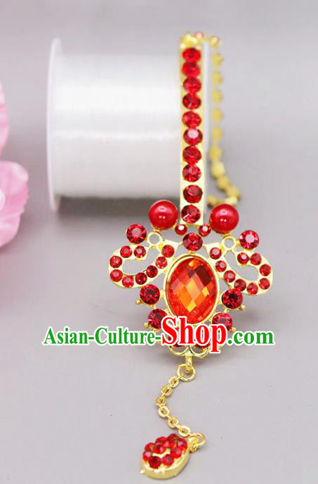 Chinese Ancient Hair Accessories Red Crystal Eyebrows Pendant Traditional Tassel Hairpins Headwear for Women