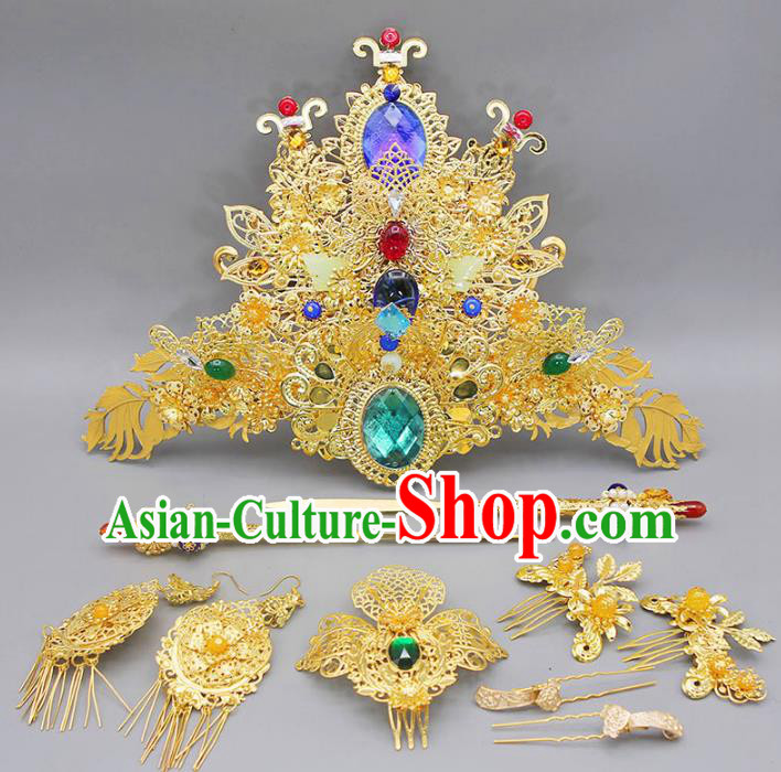 Chinese Ancient Hair Accessories Hanfu Phoenix Coronet Traditional Tassel Hairpins Headwear for Women