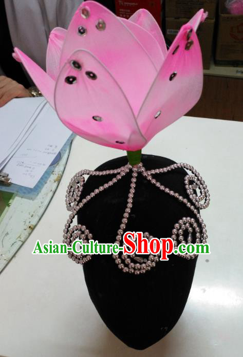 Chinese Traditional Folk Dance Hair Accessories Pink Lotus Headwear for Women