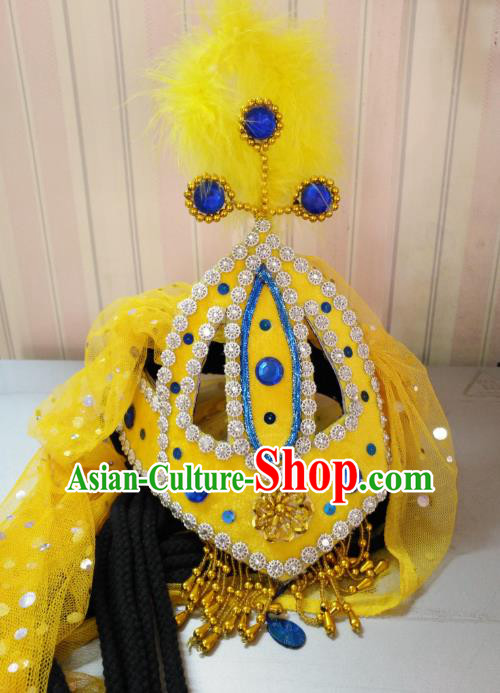 Chinese Traditional Classical Dance Hair Accessories Uyghur Nationality Dance Yellow Hats Headwear for Women