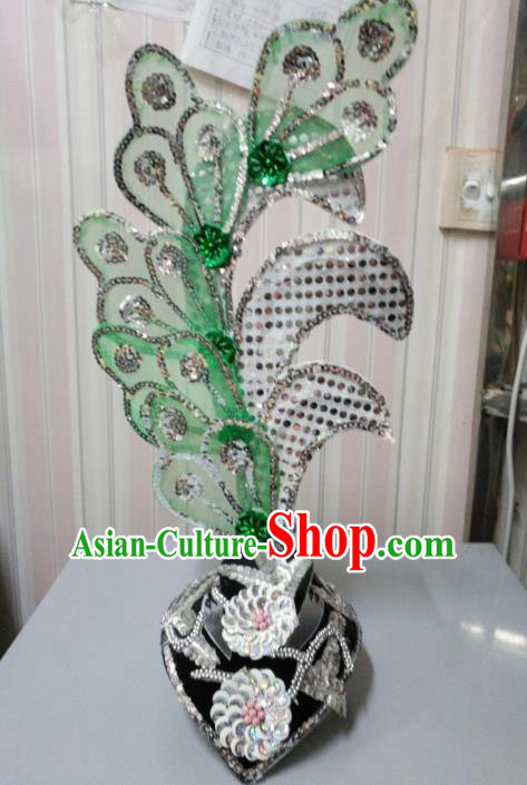 Chinese Classical Dance Green Leaf Hair Accessories Traditional Folk Dance Yanko Dance Headwear for Women